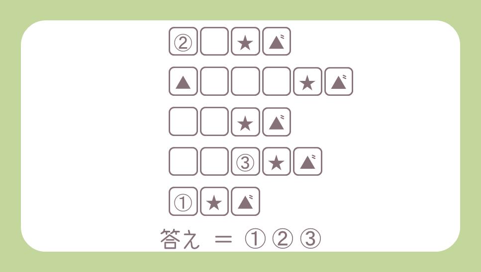 謎解き基礎問題『空白だらけの5つの単語』の問題