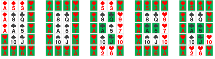 謎解き練習問題『並べられたトランプ』の解答を全部並べたもの