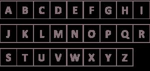 謎解き練習問題『通りゃんせ』の問題中の四角にアルファベットを当て嵌めたもの